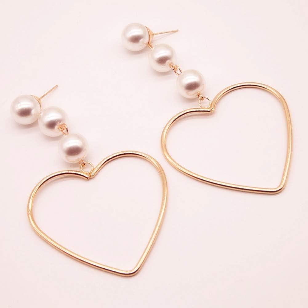SSEHL Pendientes Pendientes de Gota con Perlas simuladas Decoradas Pendientes Largos para Mujeres Pendientes de Temperamento Joyería de Moda