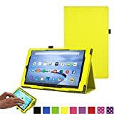 TECHGEAR All New Amazon Fire 7 Case, Amazon Fire 7' Alexa Tablet Leather Folio Case Cover with Viewing/Typing Stand [YELLOW] - for 2017 released Amazon Fire 7' tablets