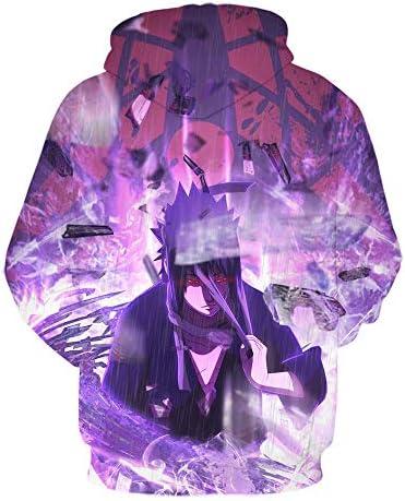 TSHIMEN Herren Sweatshirt Naruto 2019 Fashion Sweater Japanischen Anime Vortex Naruto Sasuke Kakashi Herbst und Winter 3D Digitaldruck Hoodie Lose Beiläufige Sweatshirt-Lila XXL