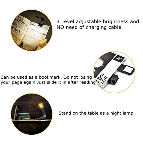 USB Book Light Rechargeable Reading Light for Bed, 2800K Warm White Eye Care 4-Level Brightness LED Lamp, Flexible and Easy Clip On Books for Kindle, Perfect for Bookworms Kids by Oumeiou (Image #2)'