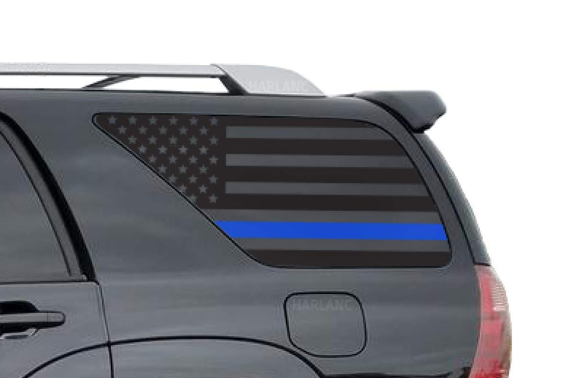 Toyota 4Runner | Thin Blue Line American Flag Decals in Matte Black for side windows | Fits 4th Generation 2002-2009 | FR5BA