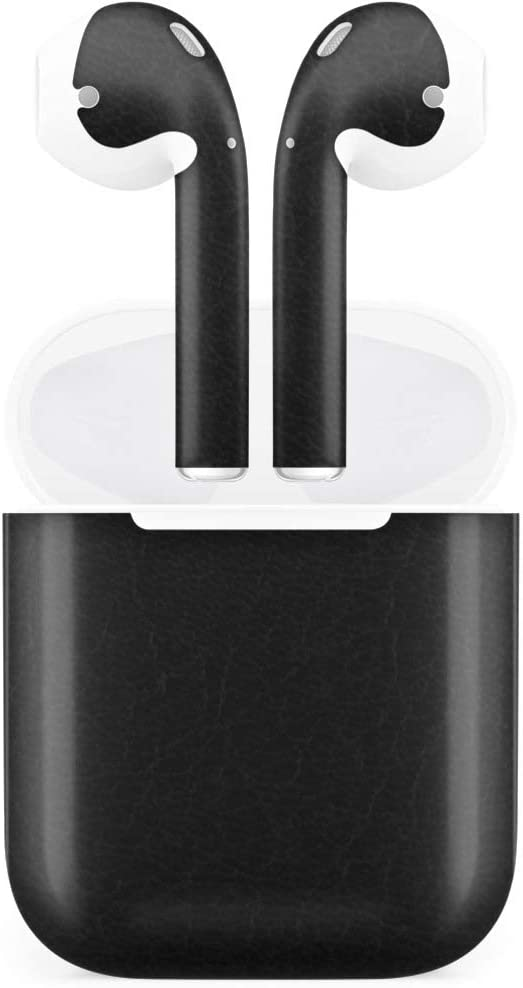 BocaDecals Full Deluxe Vinyl Skin for Apple Airpods Gen1 & Gen 2 (Non-Wireless Charging) (Black Leather)