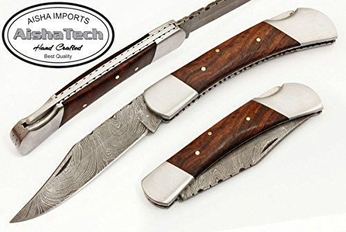 - AishaTech Claret Back Lock Folder Knife Damascus Steel Blade Wood Handle