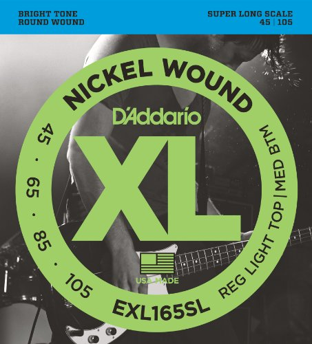 D'Addario EXL165SL Nickel Wound Bass Guitar Strings, Custom Light, 45-105, Super Long Scale