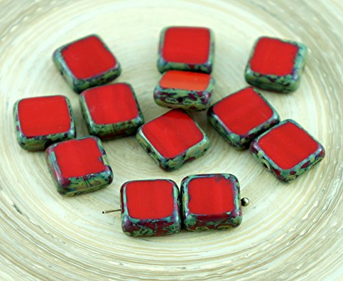 Picasso Brown Coral Red Table Cut Rustic Square Flat Czech Glass Beads 10mm (Red Coral Cube Beads)