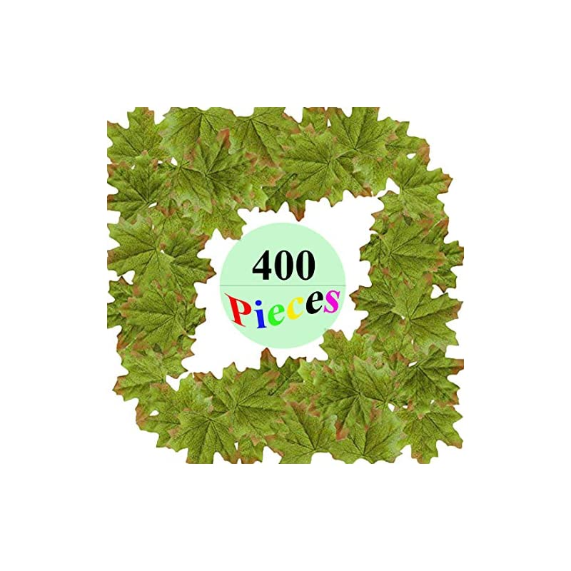 silk flower arrangements merrynine artificial maple leaves green, autumn fall leaves bulk assorted multicolor mixed garland wedding house decorations (maple leaves-400pcs, green)