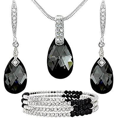hot sell Black Crystal Silver Tone Drops Jewelry Set - Necklace Bracelet and Earrings - Swarovski Elements Crystals