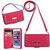 iPhone 5/5S Wallet Case, True Color© Premium Studded Leatherette Wristlet / Cross Body Clutch Folio Wallet Purse Clubbing Case Cover + Stand Feature - Fuchsia