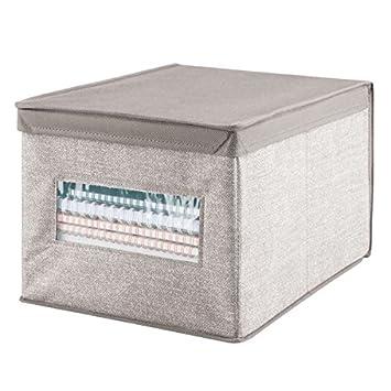 mDesign – Caja de tela con tapa para ordenar armarios – Ideal como organizador de oficina