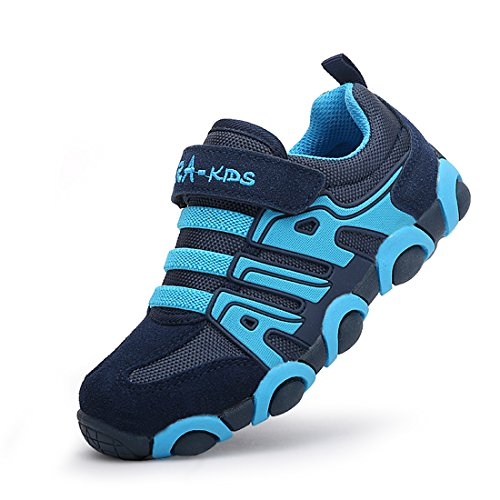 O&N Boys Girls Athletic Sneakers Mesh Velcro Lightweight Sport Casual Running Shoes for Kids Blue 11 M US Little Kid