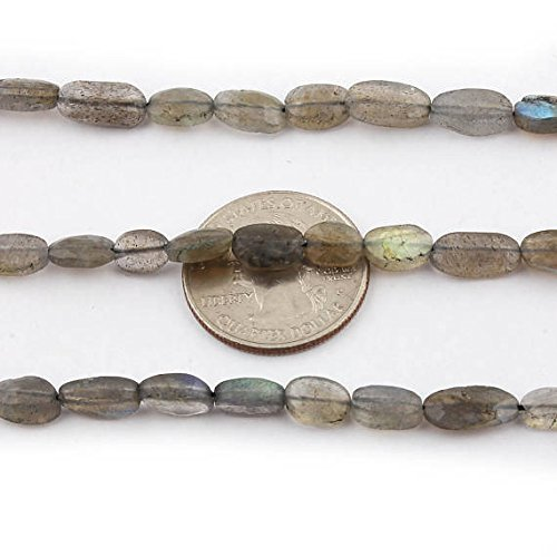 Oval 10x8mm Faceted Gem (5 Strands Labradorite Faceted Oval Briolettes 7x6mm-13x8mm Faceted Center Drill Briolettes Labradorite Gemstone Beads 13.5 Inc)