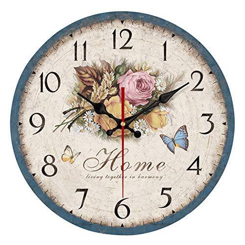 YeYo Simple European Style Flowers Wall Clock Wooden MDF Quiet Wall Clocks no Ticking Noise for Home Living Room Office Decoration (14inch)
