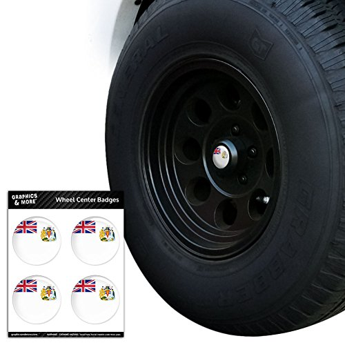 """The British Antarctic Territory National Country Flag Tire Wheel Center Cap Resin-Topped Badges Stickers - 2.0"""" (5.1cm) Diameter"""