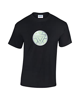 fa405a6fe Glow In The Dark Arc Reactor T-Shirt (Iron Man 3, Avengers, Tony Stark) -  Direct From UK Manufacturer: Amazon.co.uk: Clothing