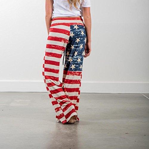 Pantalons Femmes Drapeau Multicolore Pantalon Pattes Larges À Cordon Leggings Imjono Américain 6qCC5