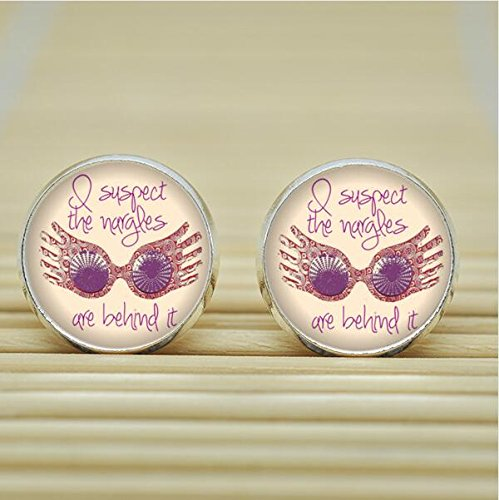 [Luna Lovegood You're just as sane as I am HP Earrings Studs jewelry glass Cabochon Earrings Post] (Fandom Halloween Costumes)