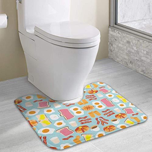 Beauregar Breakfast Fun Wallpaper Contour Bath Rugs,U-Shaped Bath Mats,Soft Polyester Bathroom Carpet,Nonslip Toilet Floor Mat 19.2″x15.7″
