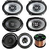 3 Pair Car Speaker Package Of 2x Kenwood KFCC6866S 6x8 250 Watt 2-Way Coaxial Speakers + 2x KFC1665S 6.5 2-Way Audio Speaker + 2x 6965S 6x9 400W 3-Way Speaker + Enrock 16g 50 Ft Speaker Wire