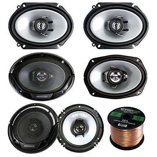 - 3 Pair Car Speaker Package of 2X Kenwood KFCC6866S 6x8 250 Watt 2-Way Coaxial Speakers + 2X KFC1665S 6.5