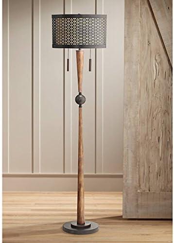 Hunter Mid Century Modern Farmhouse Vintage Floor Lamp Rustic Cherry Wood Perforated Metal Cream Linen Double Drum Shade Decor