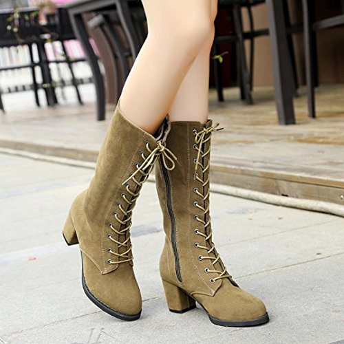 Winter Heeled Tube Riding Boots Shoes Inkach High Khaki Knee High Boot Womens Lace up Boots High 5xRnTBnqa7