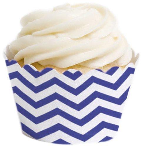 chevron blue cupcake liners - 5