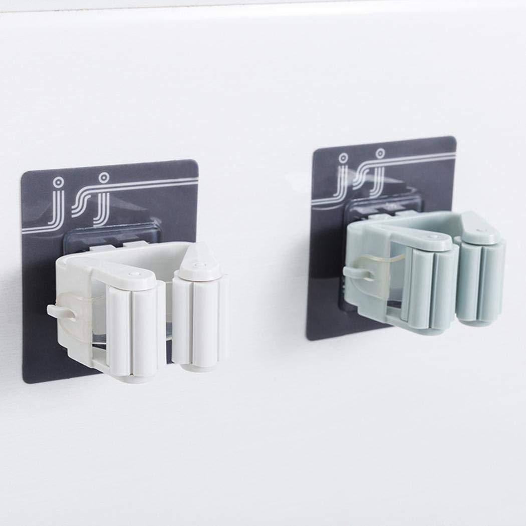 Salver Self Adhesive Mop Holder Wall Mounted Seamless Broom Hanger Clip Storage Racks Blue