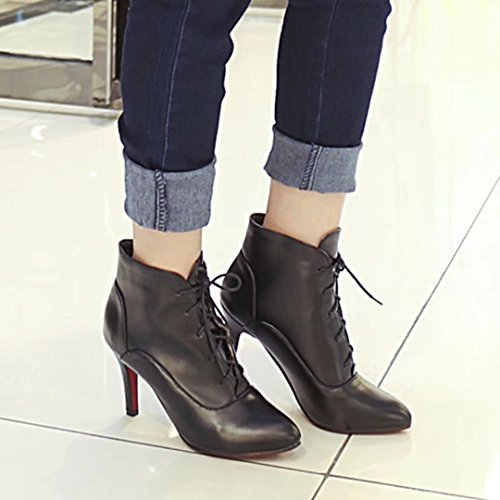 Lace Toe AIYOUMEI Pointed Thin up Fashion Winter Ankle Heel Women's Black Boots Autumn Bootie qqt4znTH