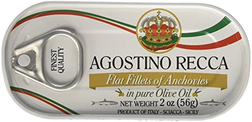 Agostino Recca - Flat Fillets of Anchovies in Olive Oil, (3)- 2 Ounce. Tins (White Anchovies)