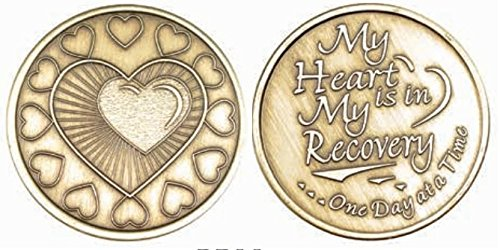 wendells My Heart is in Recovery One Day at A Time AA Alcoholics Anonymous Bronze Medallion Chip