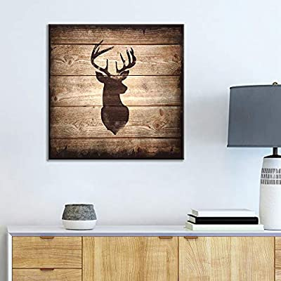 Square Rustic Deer Silhouette - Canvas Art