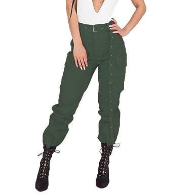Huihong Damen Cargo Hosen Casual Boyfriend Hosen Militärarmee Kampf Solide  Taschenhosen Cool Streetwear Lange Hosen ( bb7b4e15e7