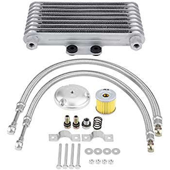 KIMISS 125ml Aluminum Motorcycle Oil Cooler Engine Oil Cooler Radiator Kit for125CC 150CC 200CC