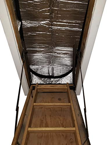 "Attic Stairs Insulation Cover for Pull Down Stair 25"" x 54"" x 11""- R-Value 15.4 Extra Thick Fire Proof Attic Cover Stairway Insulator with Easy Installation, Low-dip Entrance and Tear by Miloo"