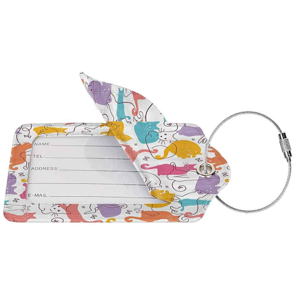 Soft luggage tag Cat Lover Decor Collection Colorful Cats Jumping Playing Relaxing Feline Whisker Children Joy Line Art Bendable Muatard Purple Blue W2.7 x L4.6