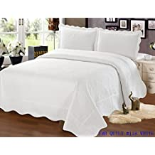 Embroidered 3 Piece Bedding Bedspread / Quilt Set with 2 Pillow Sham, White