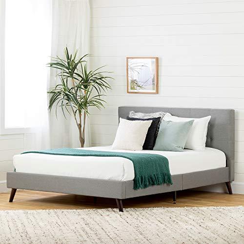 South Shore 12120 Fusion Padded Upholstered Platform Bed and Headboard-Full-Medium Gray