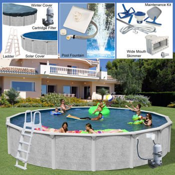 "Majestic Pool (Century Pools Majestic Above Ground Resin Pool Package (delivers in 2 - 3 weeks) 24' diameter, 52"" depth)"