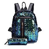 Liraly Women Bags,Big Promotion! 2018 Girl Sequin School Bag Backpack Travel Shoulder Bag+Clutch Wallet (Sky Blue)