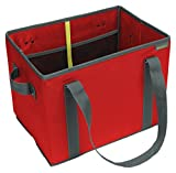 meori New Foldable Collapsible Reusable Market Basket Tote Bag with Handles for Grocery Shopping, Picnic, Road Trip, Errands in Hibiscus Red (Dimensions: 14.6 x 11 x 10.25 inches Open)