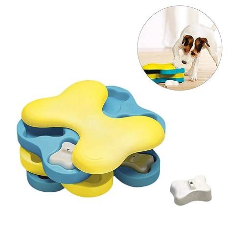 Haodene Perro Juguete – Bone-Shaped rotación Juguetes formación de Cachorro – Cuenco interactiva dispensador