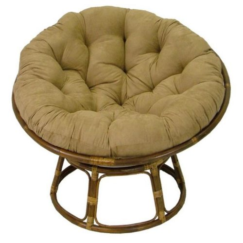 Java Tan Rattan Papasan Wicker Chair with Cusion (Papasan Cusions)