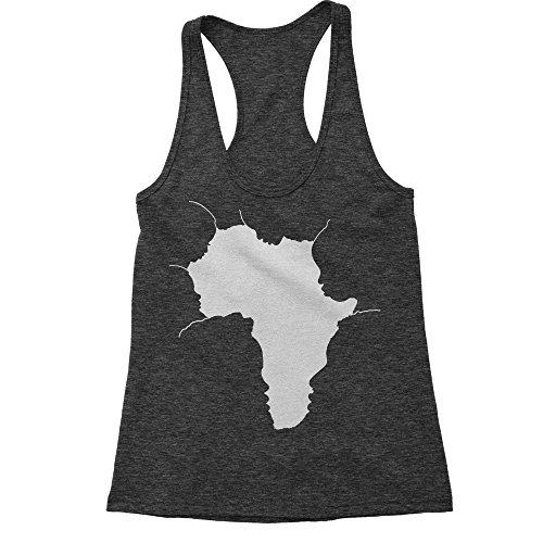 FerociTees Racerback Faces Of Africa African American Pride History X-Large Charcoal Grey Ladies Tank Top by FerociTees