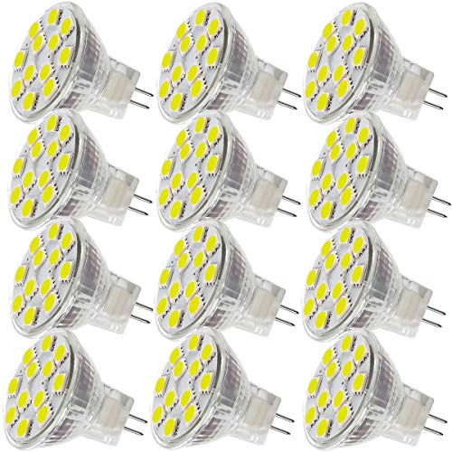 2.4W LED MR11 Light Bulbs, 12v 20w Halogen Replacement, GU4 Bi-Pin Base, Daylight White 4000K, (Pack of 12)