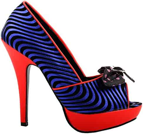 adaa76ba53ed SHOW STORY Sexy Black Blue Wave Print Bow Red Platform Stiletto Party  Pumps