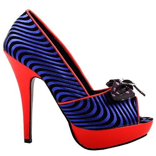 Histoire Bow Noir Wave Lf30478 Stiletto Blue Sexy Parti Plate Pompes forme Voir Rouge Impression L'établissement ZnU0BBS