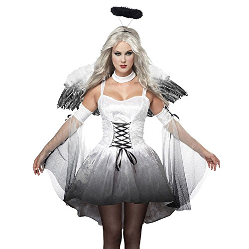(Sasairy White Black Angel Halloween Costume Women Halloween Cosplay with Wings Halo)