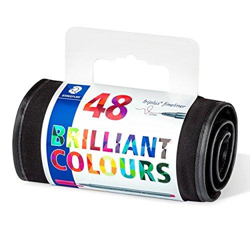 Staedtler 334 Triplus Fineliners Roll-Up Set Assorted Colours - Pack 48 (Colour Staedtler Triplus)