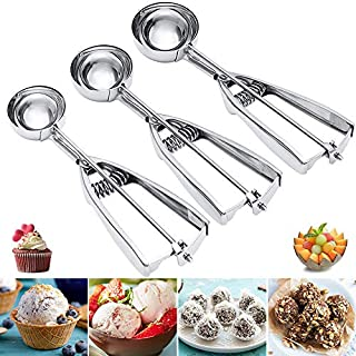 XUECHEN 18/10 Stainless Steel Cookie Scoop Set with Trigger,Multi-Purpose Ice Cream Scoop Set,Dishwasher Safe Scooper for Bake,Ice Cream,Fruit(3 Pcs (S-M-L)
