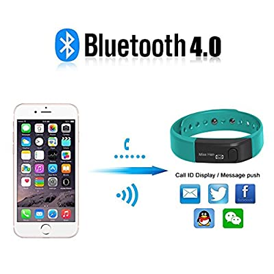 Fitness Tracker Activity Tracker,Shonco I5 S Bluetooth Smart Bracelet Sports Wristband Fitness Bracelet with Pedometer Health Sleep Monitor for iPhone IOS7.0 above/ Android 4.3 above Phone - Blue